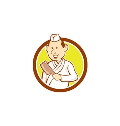 Japanese Chef Cook Meat Cleaver Circle Cartoon vector image vector image