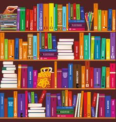 seamless bookshelve pattern vector image