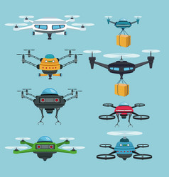 Sky landscape background set quadrocopters and vector