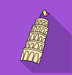 Tower of pisa in italy icon in flat style isolated vector
