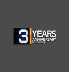 3 years anniversary logotype with blue and silver vector