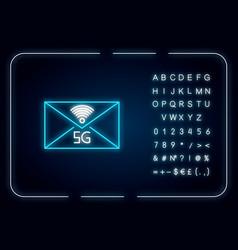 5g envelope neon light icon email exchange vector