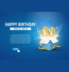 60 th years anniversary banner with open burst vector