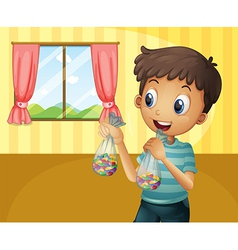 A boy holding two packs bean candies vector