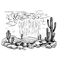 Arizona desert rain storm vector