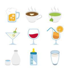 beverage alcoholic drink milk beer coffee vector image