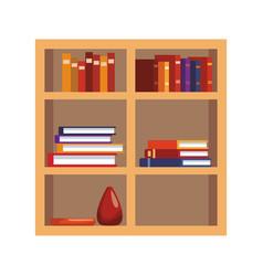 bookcase with books icon colorful design vector image