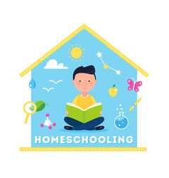 boy reading a book homeschooling science vector image