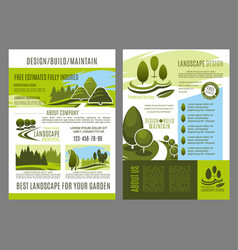 Brochure of landscape design build vector