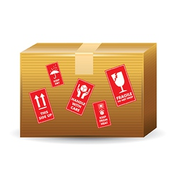 Brown Box With Icons vector image