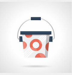 Bucket of protein powder flat color icon vector