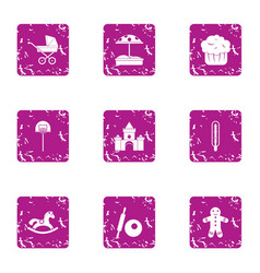 Carriage icons set grunge style vector