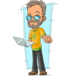 Cartoon bearded programmer in glasses vector