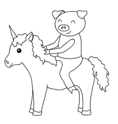 Cartoon pig on unicorn coloring vector