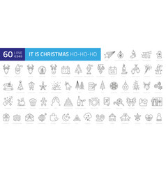 christmas line web 60 icons set on white vector image