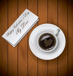 Coffee cup with letter on wood background raster vector
