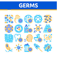 collection bacteria germs sign icons set vector image