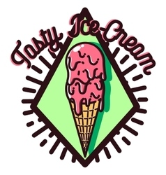 Color vintage Ice Cream emblem vector image
