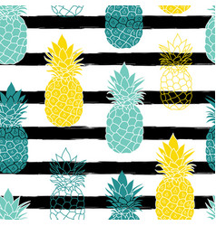 colorful pineapples on black stripes repeat vector image