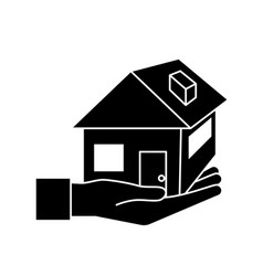 Contour hand with house architecture design icon vector