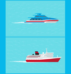 cruise liner and yacht leave traces water sailing vector image