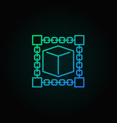Cube inside blockchain concept blue outline vector