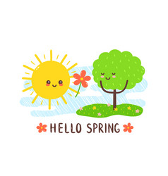 cute happy smiling sun vector image