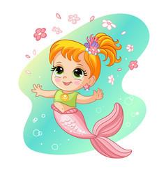 Cute pretty mermaid and flowers cartoon vector