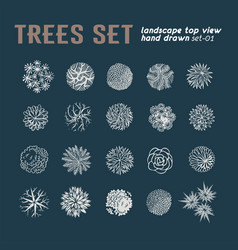 Different plants and trees set for landscape vector