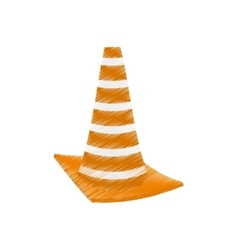 Drawing construction cone with stripes vector