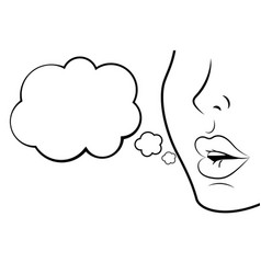 Face profile with sexy lips black and white vector