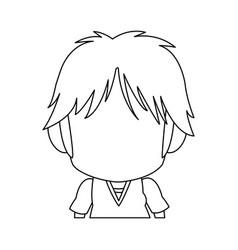 Faceless anime tennager hair style contour vector