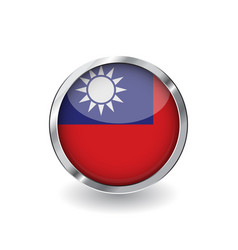 flag of taiwan button with metal frame and shadow vector image