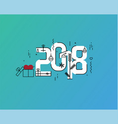 flat line design new years vector image