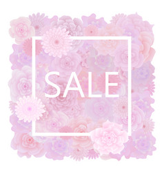 floral sale background with blooming pink roses vector image
