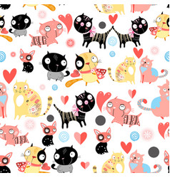 funny pattern lovers cats vector image