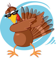 funny turkey ready for celebration cartoon vector image