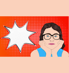 girl is dreaming pop art style with bubble speech vector image