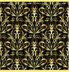 gold 3d damask seamless pattern vector image