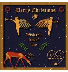 Golden Christmas angels vector