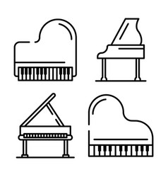 Grand piano icons set outline style vector