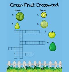 Green fruit crossword game template vector