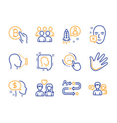 Group pay and dislike icons set hand startup vector