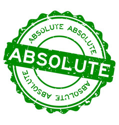 Grunge green absolute word round rubber seal vector