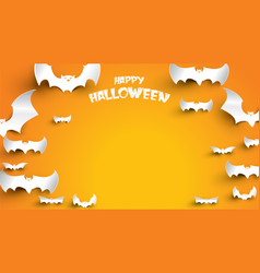 halloween background with bat in paper art vector image