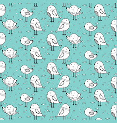 hand drawn cute bird pattern background vector image