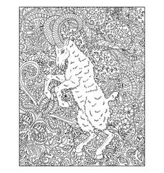 hand drawn goat against zen floral pattern backgro vector image