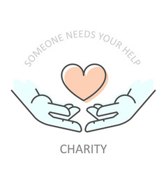 hands holding heart - charity or philanthropy vector image