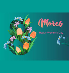 happy womens day flyer congratulation card march vector image