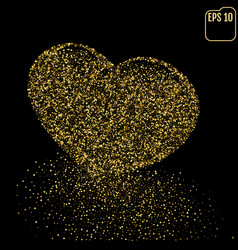 Heart of gold glittering dots dust trail vector